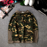 Vintage Mens Womens Patchwork Camo Pullovers Hoodie Lover Gift