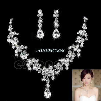 New Rhinestone Crystal Waterdrop Necklace Earring Jewelry Set For Wedding Bridal Accessory #Y51#