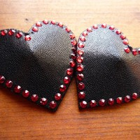 heart pasties - black with red rhinestones - L-XL
