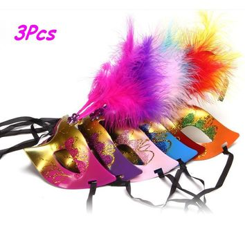 Halloween Feather Mask Masquerade Mardi Gras Quince Birthday Costume Party
