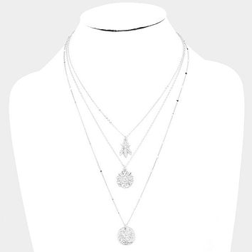 Metal Bee Floral Pendant Triple Layered Necklace
