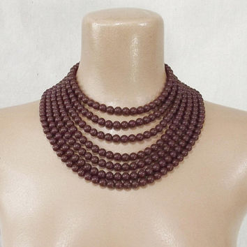 Vintage 50s Bead Necklace | 1950s Brown Necklace | 7 Strand Necklace | Bib Necklace | Statement Necklace | Mid Century Necklace | Jewelry
