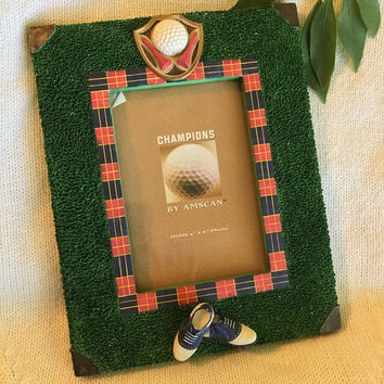 Golf Photo Frame Champions by Amscan Resin Picture Frame Vintage Golfing Theme Photo Holder with Golf Shoes Ball Tees Design Golfers Gift