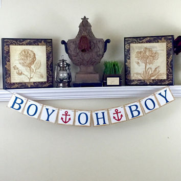 Boy Oh Boy Banner, Gender Reveal Party Decoration, Nautical Theme Baby Shower, Its a Boy Banner, Boy Baby Shower, Blue Anchor