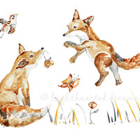 "Woodland, Nursery Decor, Fox Print, Nursery Picture, Watercolor Painting, Nursery Print - ""Foxes Can Fly"" 8x10"