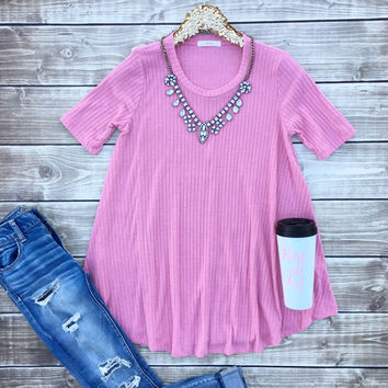 Pink Ribbed Tunic