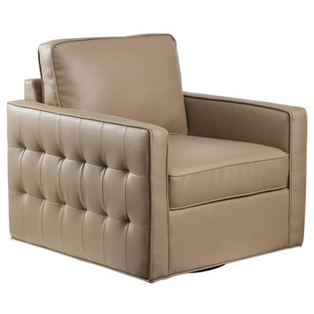 Tanner Retro Tufted Swivel Chair Taupe Bonded Leather Metal Base