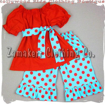 Custom Boutique Girl Clothing Red Peasant Dress Top Polka Dot Ruffled Pant Outfit Set 3 6 9 12 18 24 month size 2T 2 3T 3 4T 4 5T 5 6 7 8