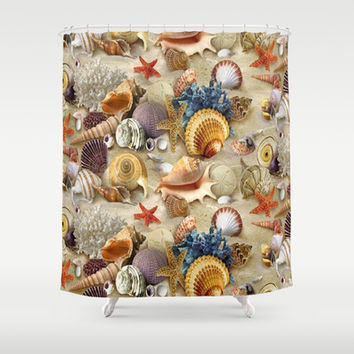 Fancy Seashells And Starfish Shower Curtain by DMiller | Society6