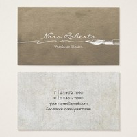 Writers Authors Editor White Dip Pen Brown Paper Business Card