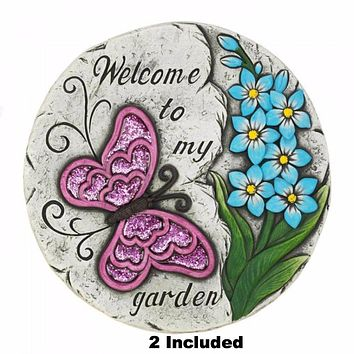 Set of 2 Pink Butterfly Garden Stepping Stones