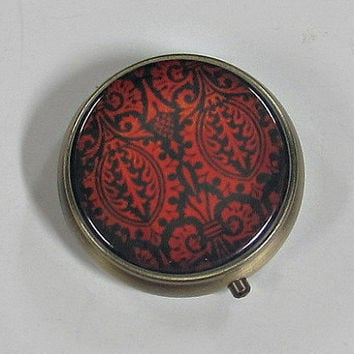 Pill Box Metal Case Red Black Damask