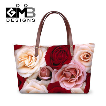 Rose Flowers Design Women Handbags For Valentine's Day Messenger Bags Top Handle Shoulder Bags Tote Bolsas Mujer Large Beach Bag