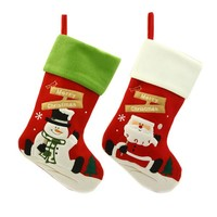 Lovely 2 pcs Christmas Stocking New Fashion Cartoon Santa Claus Snowman Gift Sock Ornament Socks Christmas Decoration Hot Sale