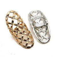 The Gold or Silver Large Lattice w Rhinestone Adjustable Rings