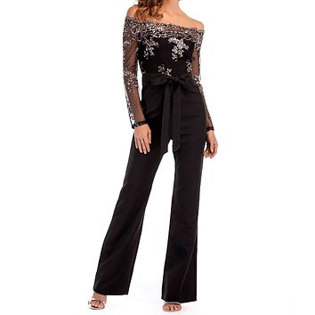 Black Sparkle See Through Mesh Off Shoulder Jumpsuits