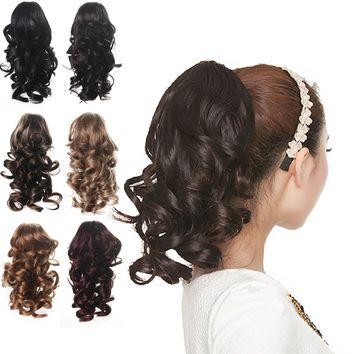 """12"""" Curly Synthetic Clip In Claw Ponytail Hair Extension Synthetic Hairpiece with a jaw/claw clip"""