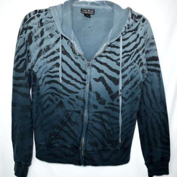 Lucky Brand Sz Small Jacket Hoded Zip Blue Animal Print EUC