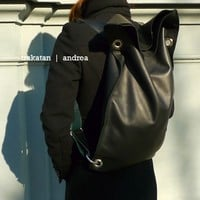 black leather backpack and shoulder bag - made in italy
