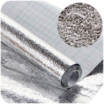 Thick Waterproof Anti-oil Aluminum Foil Self-adhesive Stickers Sliver Wallpaper