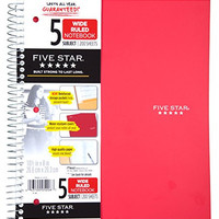 Five Star Wirebound Notebook, 5 Subject, Wide Ruled, 200 Sheets, Assorted (color selected my vary) (05206)