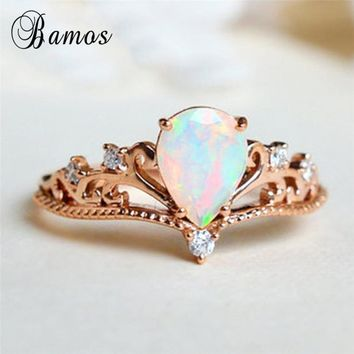 Bamos Vintage Princess Crown Engagement Ring White Fire Opal Stackable Tiara Rings For Women Rose Gold Filled Wedding Jewelry