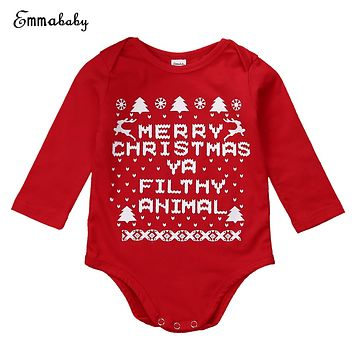 Newborn Baby Boys Girls Christmas Rompers Long Sleeve Letter Jumpsuit Green Red Outfits Kids Boy Girl Xmas Romper 0-18M