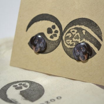 Dachshund Dog Earrings , tiny jewelry, handmade items, Unique Gift with linen cotton bag