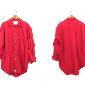 Vintage LEVIS Shirt 90s Button Up Boyfriend Shirt Oversized Denim Shirt RED Jean Shirt Slouchy Mens Work Shirt Levis Chore Shirt Medium