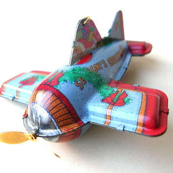 Vintage Christmas Ornaments - Tin Toy Style Airplane Ornament - Plane Christmas Ornament - Gift Idea - Present for Dad - Grandpa Gift