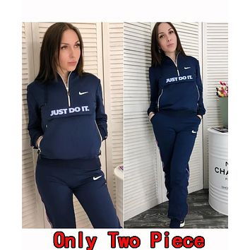 Nike Popular Women Casual Hoodie Top Sweater Pants Trousers Set Two-Piece Sportswear Navy Blue
