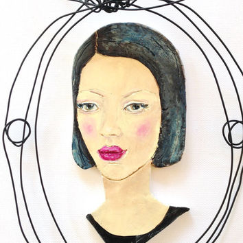 Painted Clay portrait - Bust of woman - Wire wall frame - Modern portrait of girl with rose lips