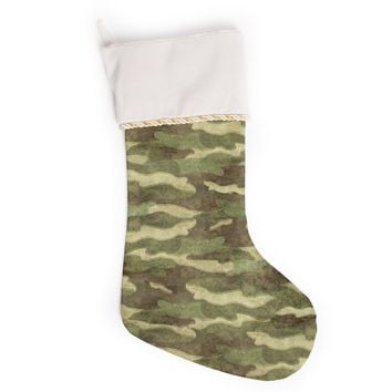 "Bruce Stanfield ""Dirty Camo"" Green Beige Christmas Stocking"