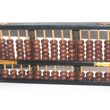 Vintage Black and Brown Wood and Brass Abacus, Vintage Abacus, Wooden Abacus, Antique Alchemy