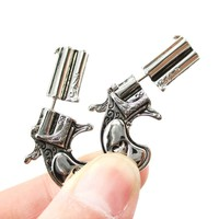 Fake Gauge Earrings: Double Pistol Gun Shaped Faux Plug Stud Earrings in Shiny Silver