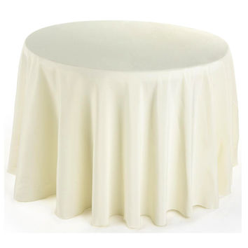 Round Fabric Table Cloth Cover, 120-inch, Ivory