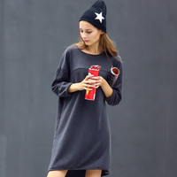 SIMPLE - Women Fashionable Loose Round Necked One Piece Dress a10919