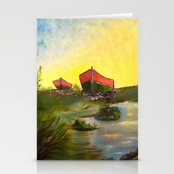 Days End   Oil on Canvas Stationery Cards by Annette Forlenza