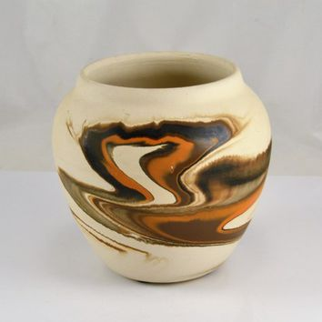 Nemadji Pot Planter - Minnesota Pottery - Earth Tone Swirls - Vintage