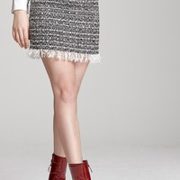 Mila Frayed Tweed Skirt Discover the latest fashion trends online at storets.com