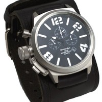 Nemesis #KIN088K Men's Russian Lefty Chronograph Wide Leather Cuff Band Watch
