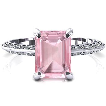Nancy Emerald Pink Sapphire 4 Prong 1/2 Eternity Diamond Knife Shank Accent Engagement Ring