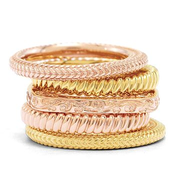 14K Yellow & Rose Gold Plated Sterling Silver Band Stackable Ring Set