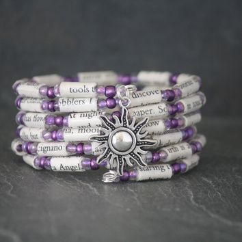 Under the Tuscan Sun Book Bead Charm Bracelet in Purple