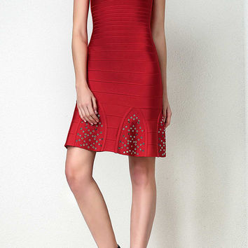 Blake Red Bandage Eyelet Dress