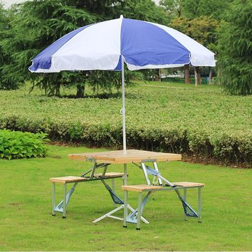 easy taking portable aluminium alloy fold picnic desk with four seats hot sale occasional table beach chair, leisure chair