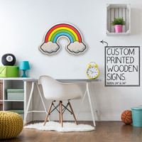Rainbow Cloud Custom Wood Patch Printed Sign Unique Trendy Game Room