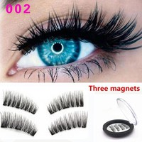 3D Double/Triple Magnetic Eyelashes Magnet False Eyelashes Full Strip Magnetic Cilia Eyelash Reusable Fake Eye Lashes