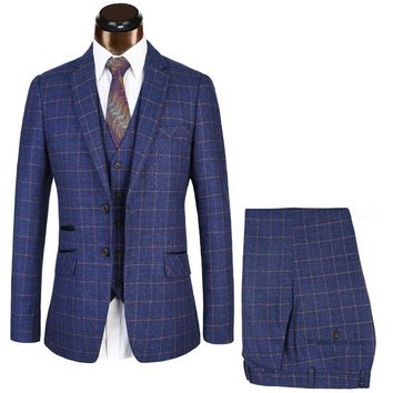 Euro Size Brand Mens Suits Slim Fit Blue Plaid Suit Men Business Ternos Business Suit Mariage Homme Stylish Prom Male Blazer