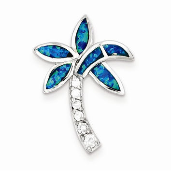 Sterling Silver CZ Blue Inlay Created Opal Palm Tree Pendant